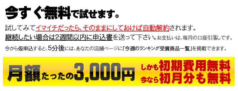 今すぐ無料で試せます。月額たったの3,000円。今なら初月分も無料