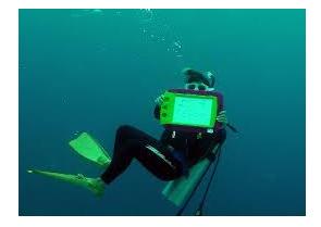 水中で磁気ボードを持つダイバー