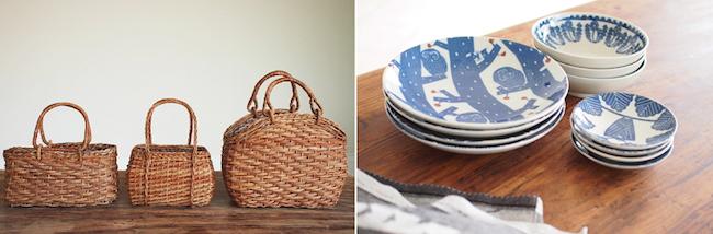 大きさ・形の違う3タイプ(同シリーズ)のかごバッグ。大きさ・デザインの異なった3タイプ(同シリーズ)のお皿。