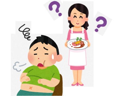 お腹がいっぱいで食べられない人の図